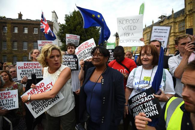 Shadow home secretary Diane Abbott joins protesters outside the Houses of Parliament, London, to demonstrate against Prime Minister Boris Johnson temporarily closing down the Commons. Picture: PA