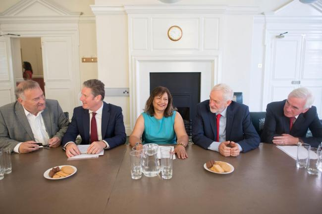 Shadow chief whip Nick Brown, shadow Brexit Secretary Sir Kier Starmer, shadow leader of the House of Commons Valerie Vaz, Labour Party leader Jeremy Corbyn and shadow chancellor John McDonnell. Picture: Stefan Rousseau/PA Wire