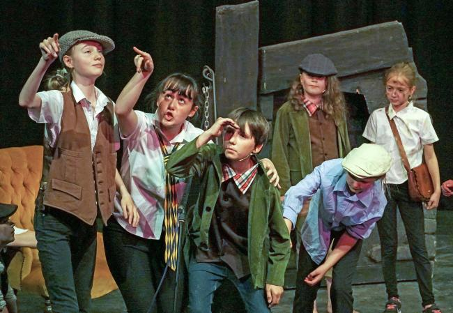 Durham Youth Theatre's production of Oliver, from left , Rachel Butcher, Jodie Dellapina, Charlie Morl, Isabella Forster, Sophie Lye, Emily Gill