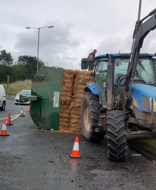 A loaded tractor has turned over at Thinford roundabout Picture: Dennin Lee Hewison