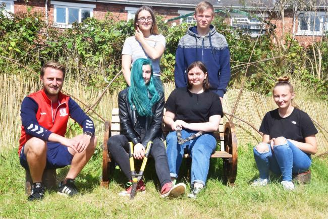 MFC Foundation project worker Gary Walton with Lucy Gardner, Adam Russell, Hannah Wilson, Molly Karavatas, Nicole Black