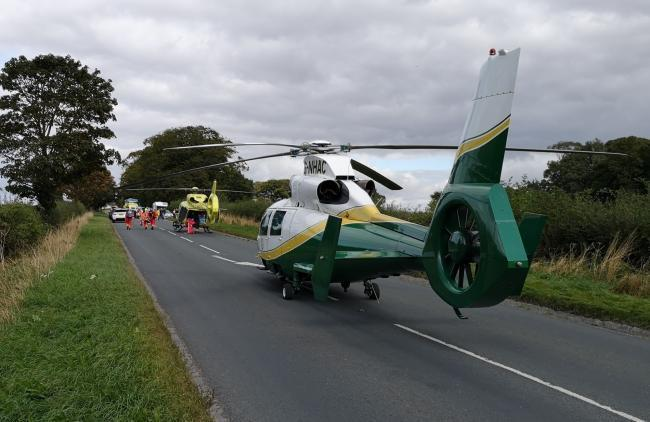 Two air ambulances were among emergency services at the scene of a motorbike crash on the A61 near Ripon, North Yorkshire