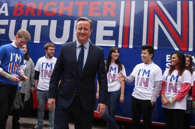 Prime Minister David Cameron joins students at the launch of the 'Brighter Future In' campaign bus at Exeter University in Devon. Picture: Dan Kitwood/PA Wire