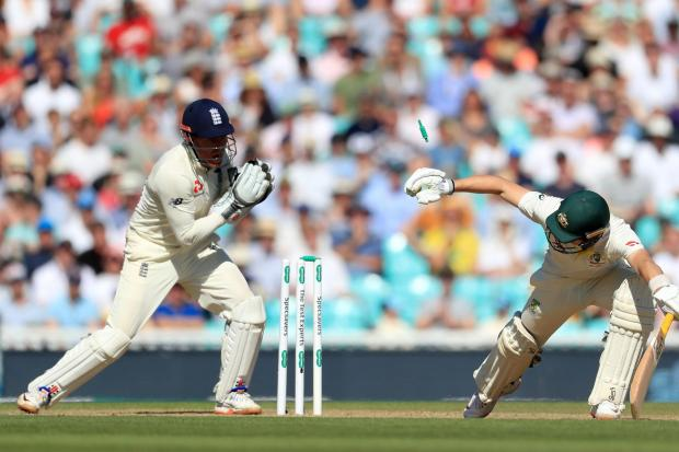 England's Jonny Bairstow (left) stumps out Australia's Marnus Labuschagne at The Kia Oval yesterday