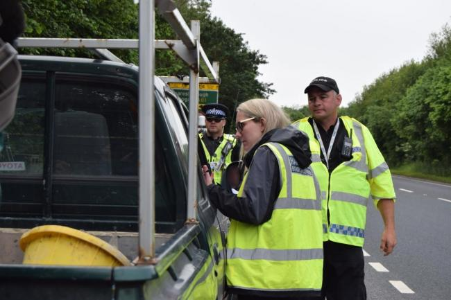 Rural Taskforce and council staff checking vehicles in an Operation Eyeball fly-tipping operation near Ripon