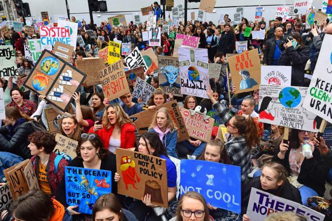 UK students take part in a strike for the climate crisis in Oxford Circus, London. Picture: Victoria Jones/PA Wire