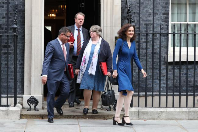 Work and Pensions Secretary, Therese Coffey, second from right. Picture: Jonathan Brady/PA Wire