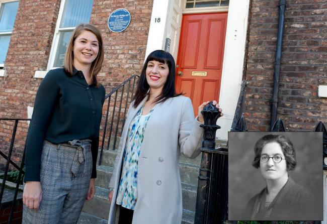 University of Sunderland academic and researcher Dr Sarah Hellawell with Houghton and Sunderland South MP, Bridget Phillipson at the plaque unveiling2019pr167pic2 University of Sunderland academic and researcher Dr Sarah Hellawell unveiling the plaque to