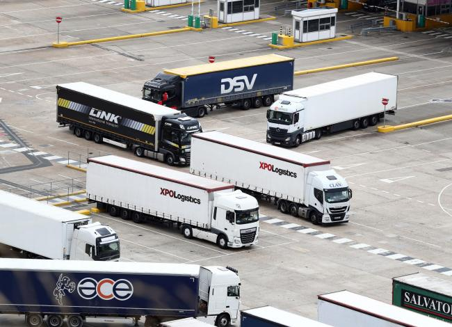 Lorries wait to cross the Channel at the Port of Dover in Kent. Picture: Gareth Fuller/PA Wire