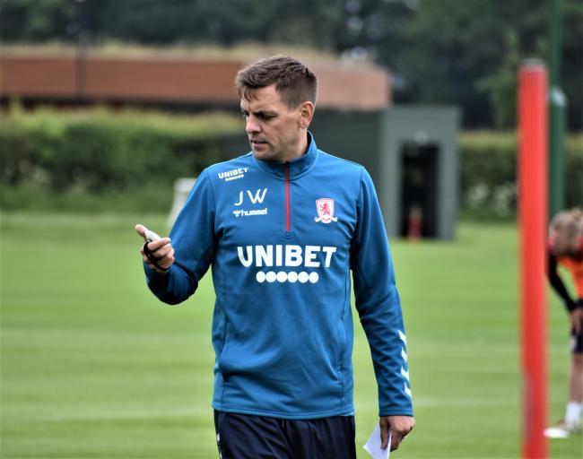 Jonathan Woodgate took charge of a training session at Middlesbrough's Rockliffe Hall base this morning