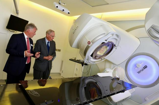 The Duke of Gloucester with Rutherford Health CEO Mike Moran in the proton beam therapy room 