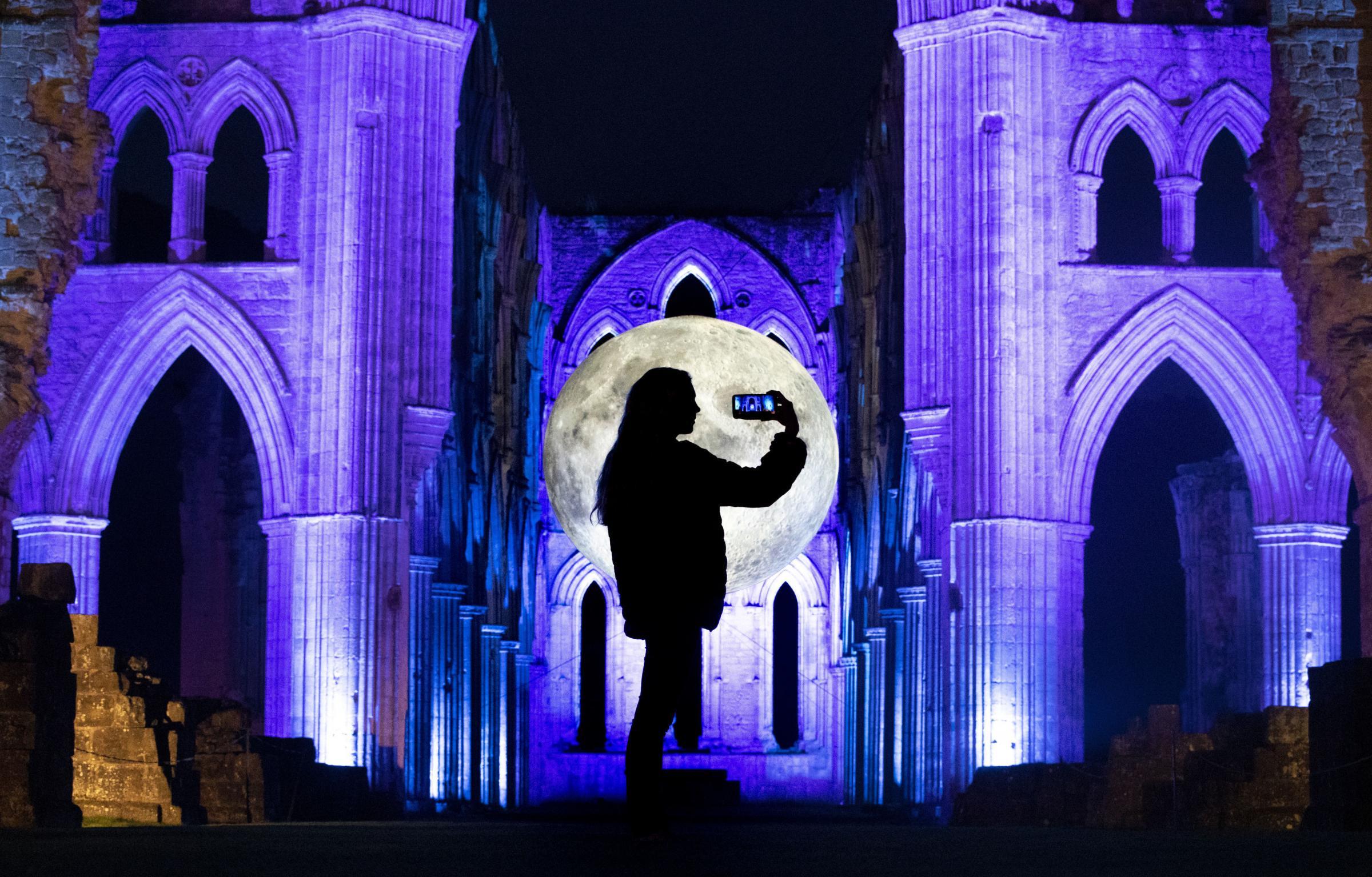 Rievaulx Abbey bathed in light for lunar celebration