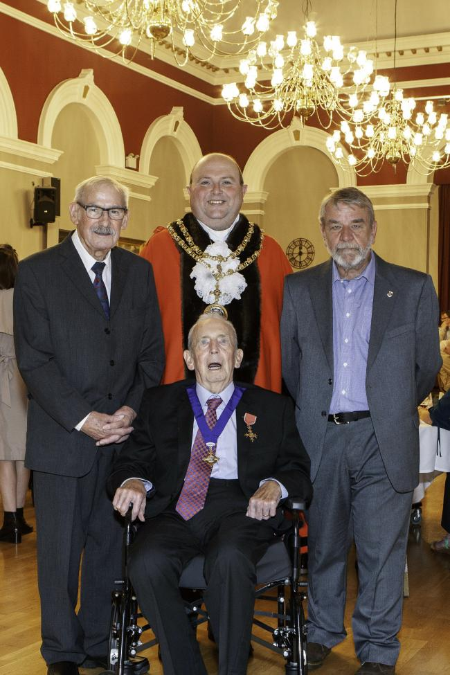 Mayor of Darlington Councillor Nick Wallis with, from left, aldermen David Lyonette and Tony Richmond and freeman Bill Dixon Picture Marc Thorneycroft