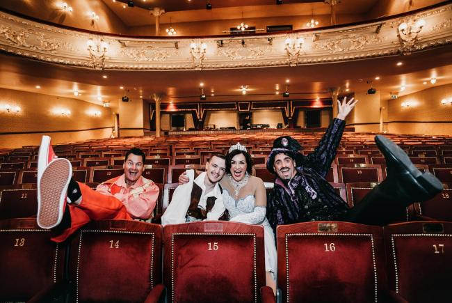 The stars of this years panto Jack and the Beanstalk at Darlington Hippodrome Phil Walker, George Sampson, Shirley Ballas and Daniel Taylor. Picture: SARAH CALDECOTT