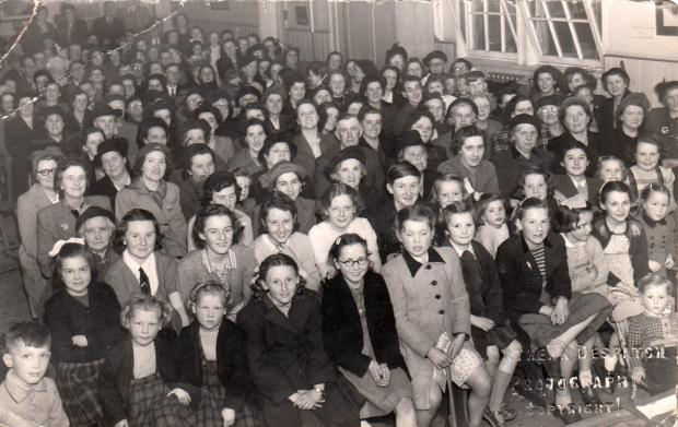 The Northern Echo: A packed school hall at High Grange. Front row, from the left, are Barry Chambers, Margaret and Judith Preen, Betty Morgan and Jessica Preen; on the second row are Pat and Lilian Gibson, Beryl Dodds, Brian Gibson, Amy Dowson, Mary Hall and Diane Holborn on the far right.