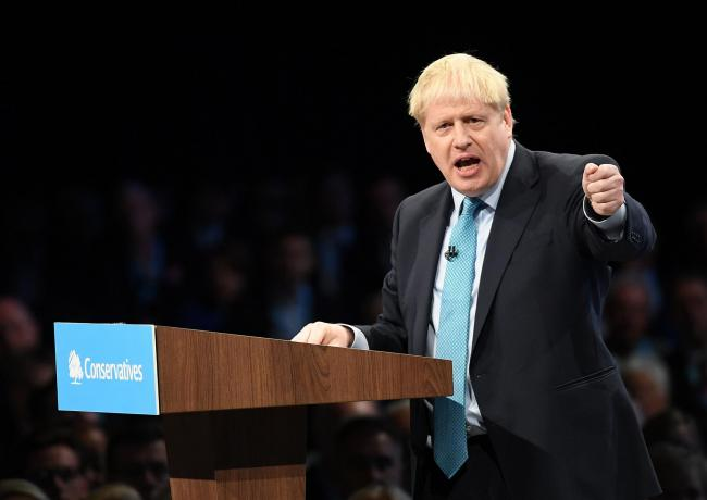Prime Minister Boris Johnson delivers his speech during the Conservative Party Conference at the Manchester Convention Centre. Picture: PA