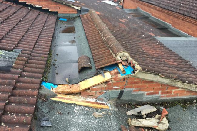 The damaged roof at Whinfield Primary School