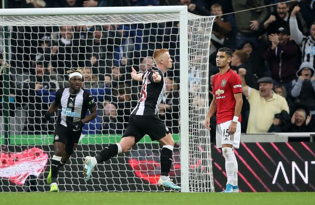 Matty Longstaff celebrates after scoring Newcastle United's winner in Sunday's 1-0 victory over Manchester United - the 19-year-old midfielder, who hails from North Shields, was making his Premier League debut