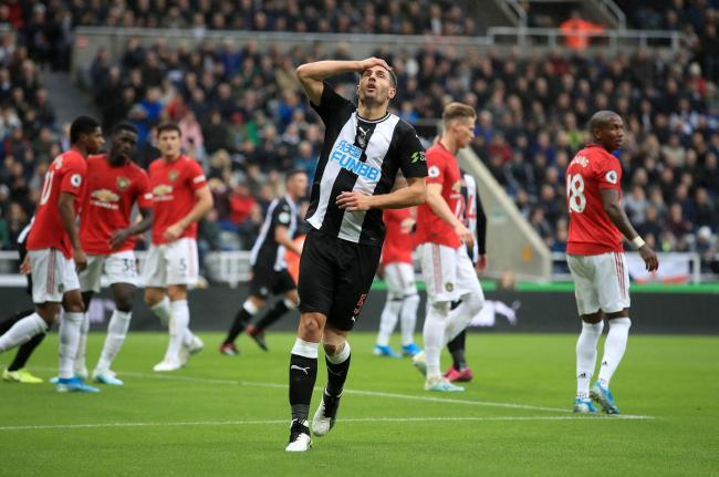 Newcastle United's Fabian Schar reacts after heading over the bar during the Premier League match at St James' Park, Newcastle. PA Photo. Picture date: Sunday October 6, 2019. See PA story SOCCER Newcastle. Photo credit should read: Owen Humphreys