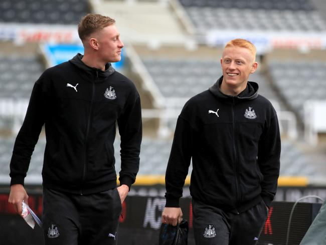 Brothers Sean (left) and Matty (right) Longstaff arrive at St James' Park ahead of Sunday's Premier League game between Newcastle United and Manchester United - Matty would go on to cap his Premier League debut with a second-half winner