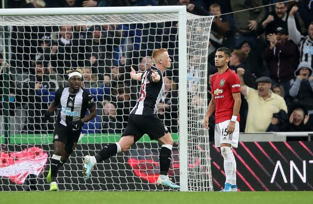 The Northern Echo: Newcastle United's Matthew Longstaff celebrates scoring on his debut for the club against Manchester United. Picture: Owen Humphreys/PA Wire