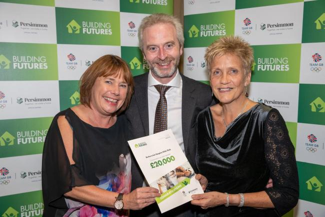 Butterwick Hospice's Paula Wood, left, and Hazel Saunders with Persimmon Homes Teesside's Kevin Thubron