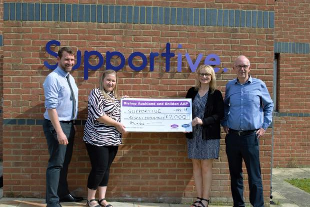 From left, Andrew Walker BASH APP coordinator, Leanne Clark, head of transport at Supportive, Sheilah Metcalfe, from the Bishop and Shildon Area Action Partnership and John Davison, chief executive officer at Supportive