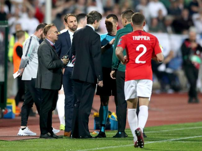 England manager Gareth Southgate (second left) and match referee Ivan Bebek (third right) during the UEFA Euro 2020 Qualifying match at the Vasil Levski National Stadium, Sofia, Bulgaria