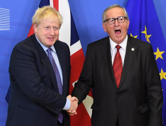 Boris Johnson and Jean-Claude Juncker, President of the European Commission, ahead of the opening sessions of the European Council summit at EU headquarters in Brussels