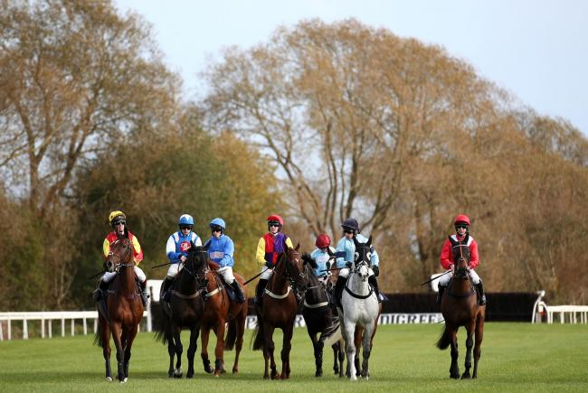 Runners and riders at the start before the Raddle Inn Chase at Uttoxeter yesterday Picture: Tim Goode/PA Wire..