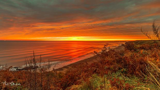The Northern Echo: The beautiful sunrise as seen from Blackhall Rocks. Picture: Neil Rutherford / Northern Echo Camera Club