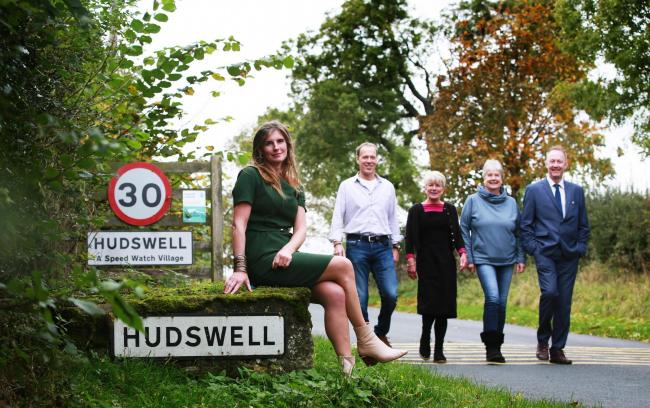 Hudswell village has been announced as the Yorkshire Village of the Year 2019 by the Dalesman. Pictured are Yorkshire Shepherdess and author Amanda Owen, Ian Whinray, Susan Ferns-Williams and Annie Sumners from the Hudswell Community Charity and Jon Stoko