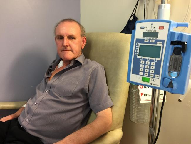 Stephen Moss in the chemotherapy unit at Durham. Picture: Peter Barron