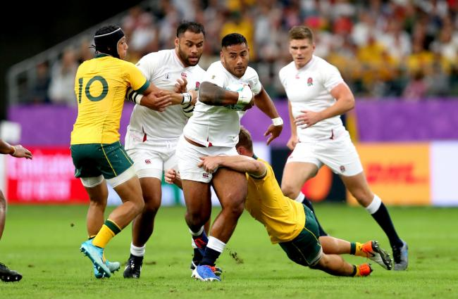 Manu Tuilagi drives through the Wallabies defence during England's World Cup quarter-final win over Australia last weekend