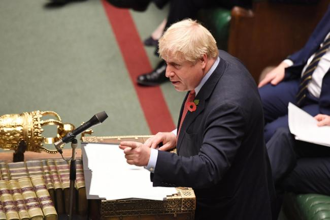 Prime Minister Boris Johnson during the debate on the Early Parliamentary General Election Bill Picture:  UK Parliament