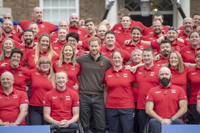 The Duke of Sussex meets team members during the launch of Team UK for the Invictus Games