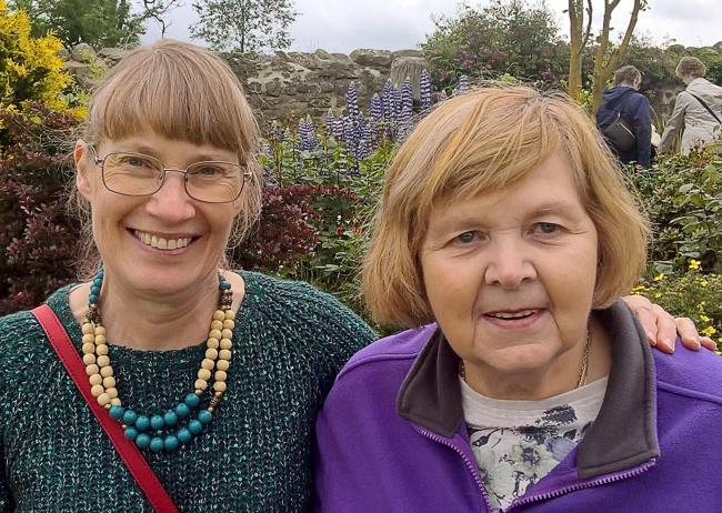 Diane Leak and Fiona Saunders-Priem ,who are participants in Age UK's befriending programme on a visit to Thornton Hall Gardens
