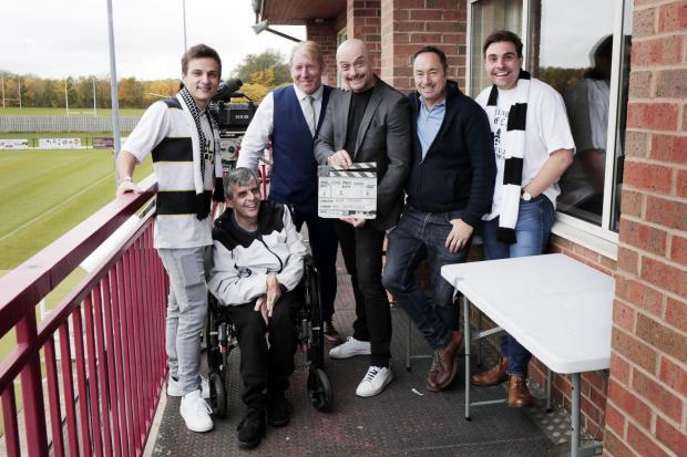Filming starts for 'Give Them Wings', a film about disabled Darlington FC fan Paul Hodgson. From left, Daniel Watson who plays Paul, Paul Hodgson, Darlington FC commercial director Craig Morley, the film's director Sean Cronin, Paul&rsqu