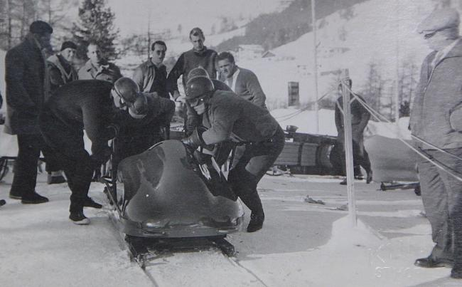 Keith Schellenberg (front right) as part of the British bobsleigh team in 1964