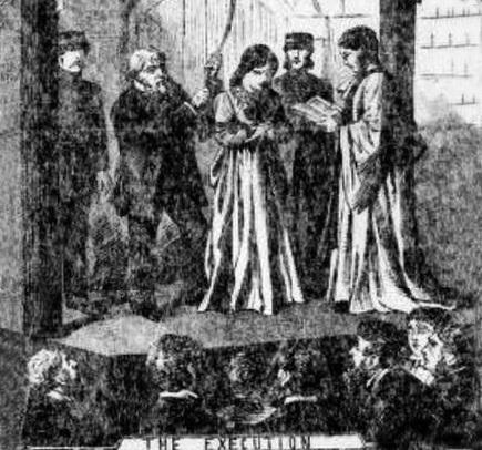 The Northern Echo: Mary Ann Cotton depicted by former forensic artist Norman Kirtland, right, committing one of her murders fro which she was hanged in Durham, right