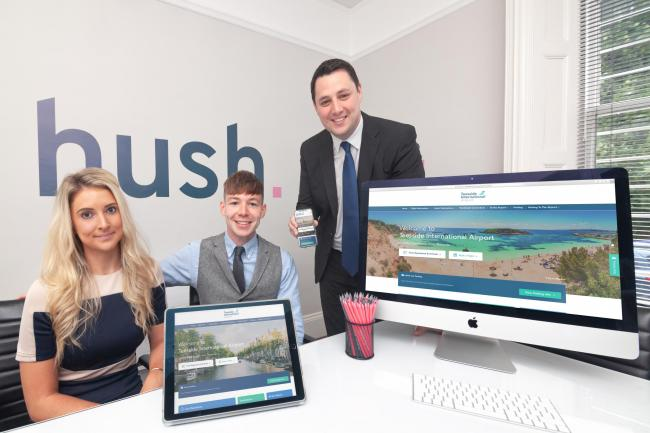 Rosie Whelpton, Business Development Director at Hush Digital, Jonny Overfield, Creative Director at Hush Digital and Ben Houchen, Tees Valley Mayor