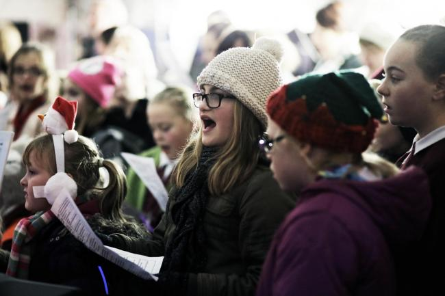 Children singing at the Christmas lights switch on in at Ferryhill