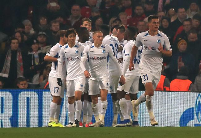 Mbwana Samatta (centre) celebrates with his Genk team-mates after scoring in Tuesday's Champions League defeat to Liverpool at Anfield. Newcastle are interested in signing the striker, who has a £10m release clause in his contract
