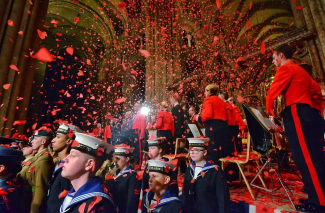 Silence falls in the nave of Durham Cathedral, except for the gentle flutter of 200,000 red poppies. Picture: North News & Pictures