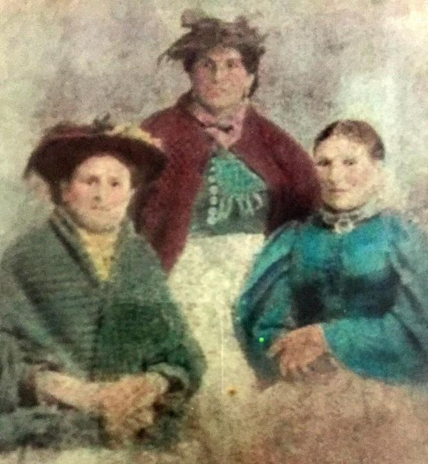 The Northern Echo: The Pattison sisters of Darlington: Polly, whose daughter married George Adams when he returned from the war without a leg; Betty, who married David Welch, the horse dealer; and Louey, right, who died of a heart attack when she received a telegram saying