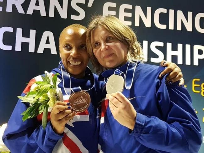 Beth Davison, right, at the Veteran's Fencing World Championships