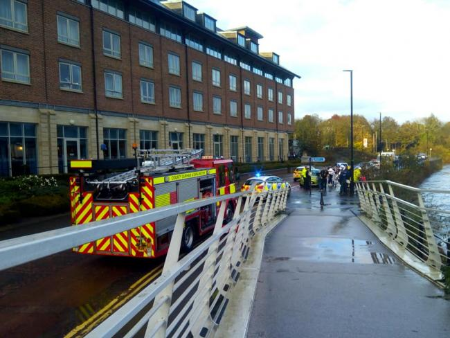 Emergency services were called to the River Wear, near the Radisson Hotel, in Durham, after reports of a man falling in the river