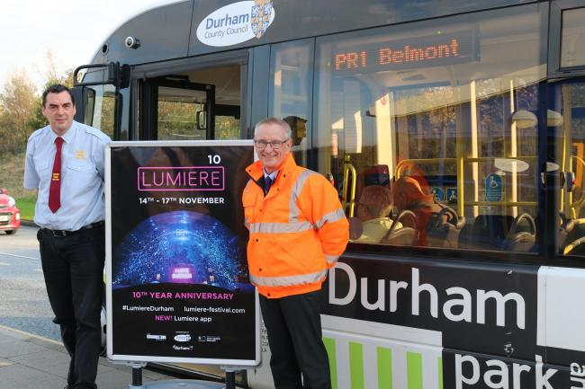 Park and ride driver Gary and Dave Wafer, Durham County Council's strategic traffic manager.