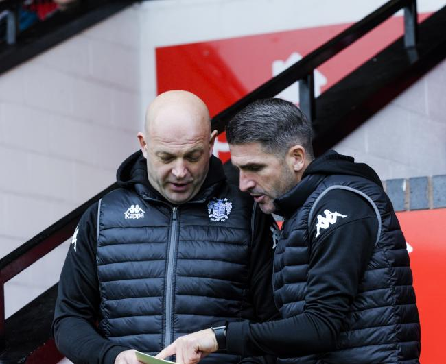 Bury assistant manager Joe Parkinson, left, with Ryan Lowe