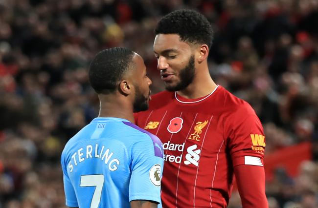 Raheem Sterling clashed with Joe Gomez during Liverpool's weekend win over Manchester City - and the pair continued their altercation after reporting for international duty on Monday